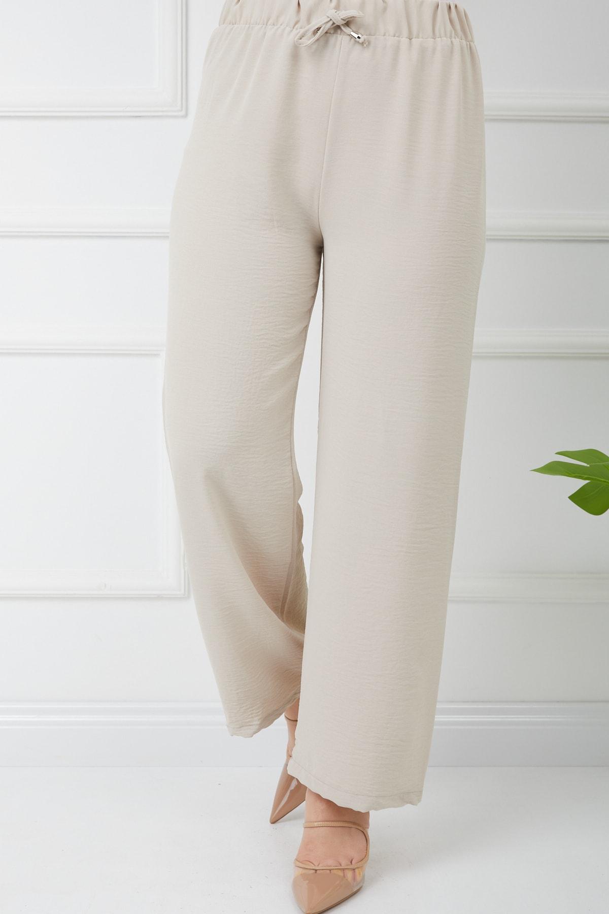 Kadın Tesettür Airobin Kumaş Bol Paça Pantolon