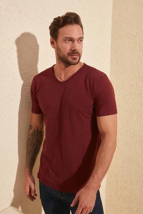 TRENDYOL MAN Bordo Basic Flamlı Süprem Regular Fit T-Shirt TMNSS20TS0035 2