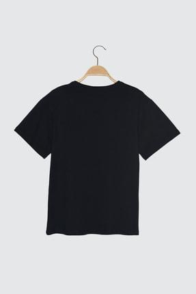 TRENDYOLMİLLA Lacivert Baskılı Boyfriend Örme T-Shirt TWOSS21TS3584 1
