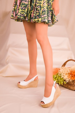 Soho Exclusive Beyaz Kadın Dolgu Topuklu Ayakkabı 16299 1