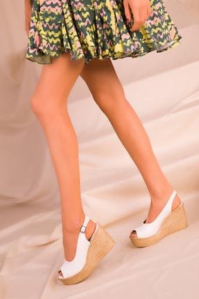 Soho Exclusive Beyaz Kadın Dolgu Topuklu Ayakkabı 16299 2