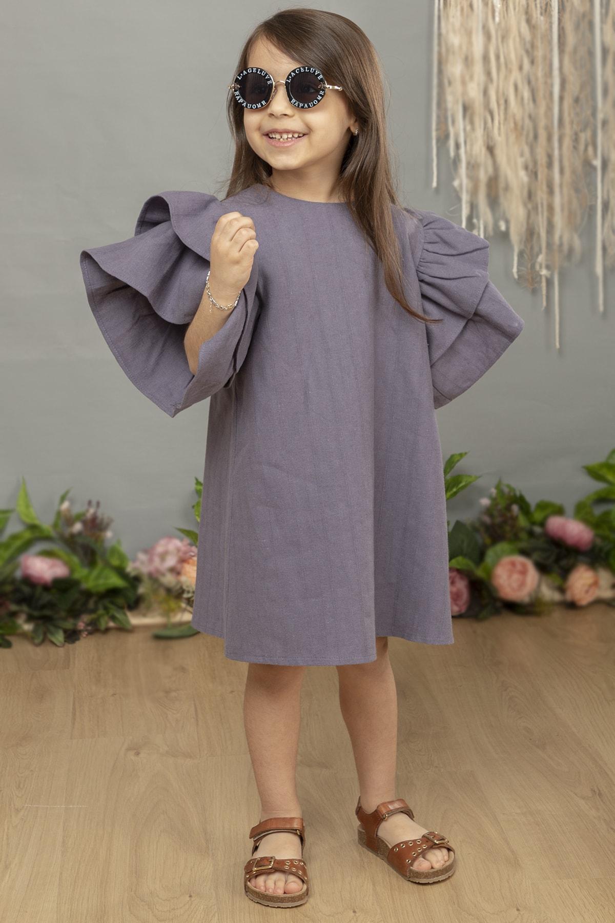 Kız Çocuk Elbise Indigo Renk (ham Keten)