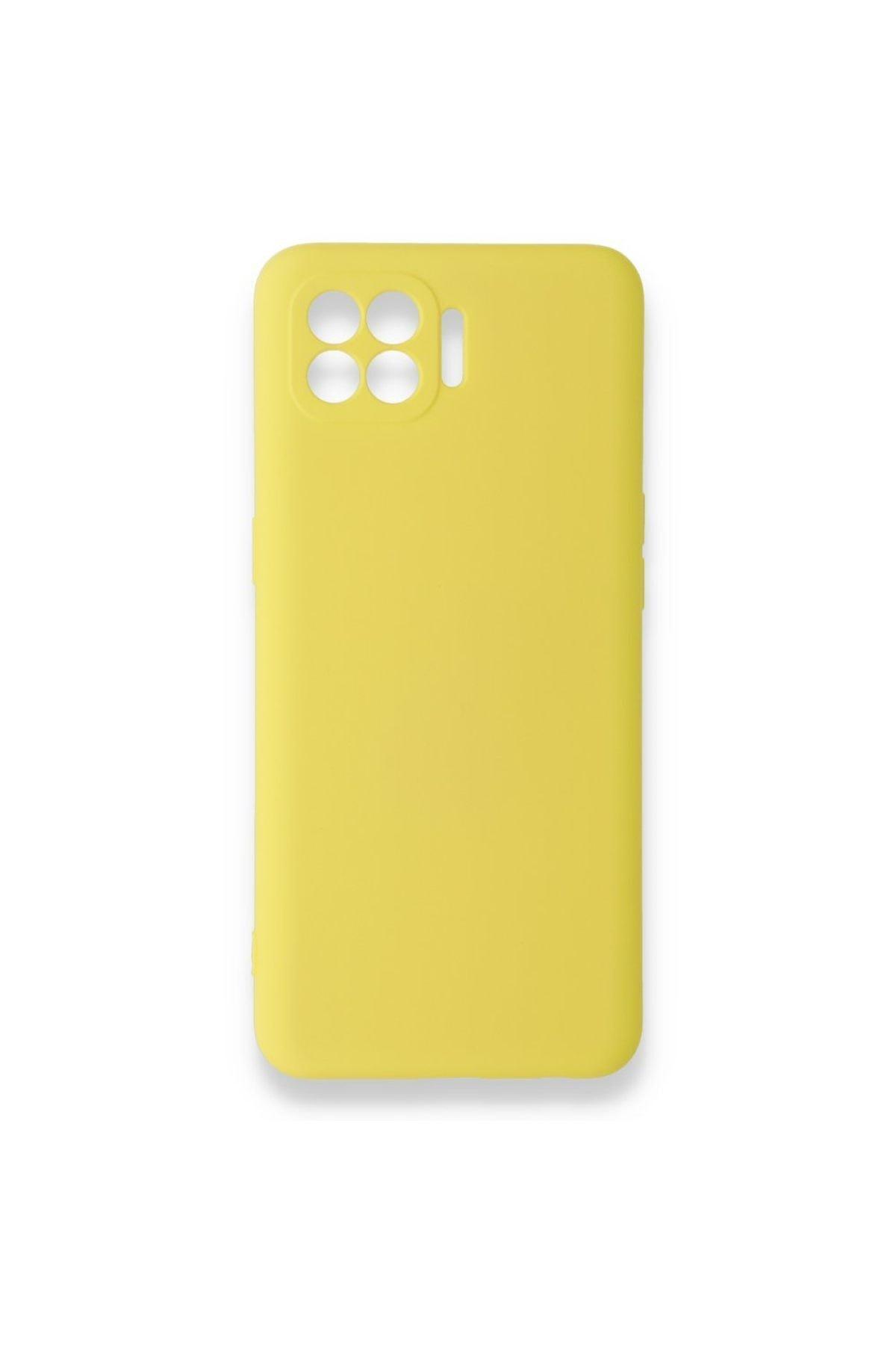 Reno 4 Lite Uyumlu Içi Kadife Yumuşak Silikon Kılıf Sarı