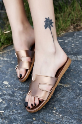 Ayakkabı Modası Bakır Kadın Terlik M1003-19-122030R 1