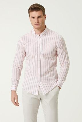Network Erkek Slim Fit Beyaz Kırmızı Çizgi Desenli Gömlek 1078136 0