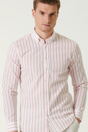 Network Erkek Slim Fit Beyaz Kırmızı Çizgi Desenli Gömlek 1078136 1