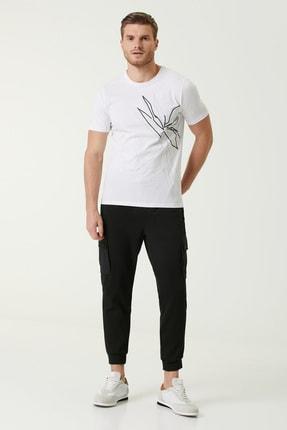 Network Erkek Slim Fit Beyaz Baskılı Basic T-shirt 1078309 1