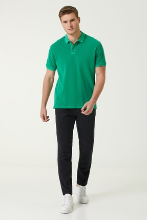 Network Erkek Slim Fit Yeşil Polo Yaka T-shirt 1078776 1