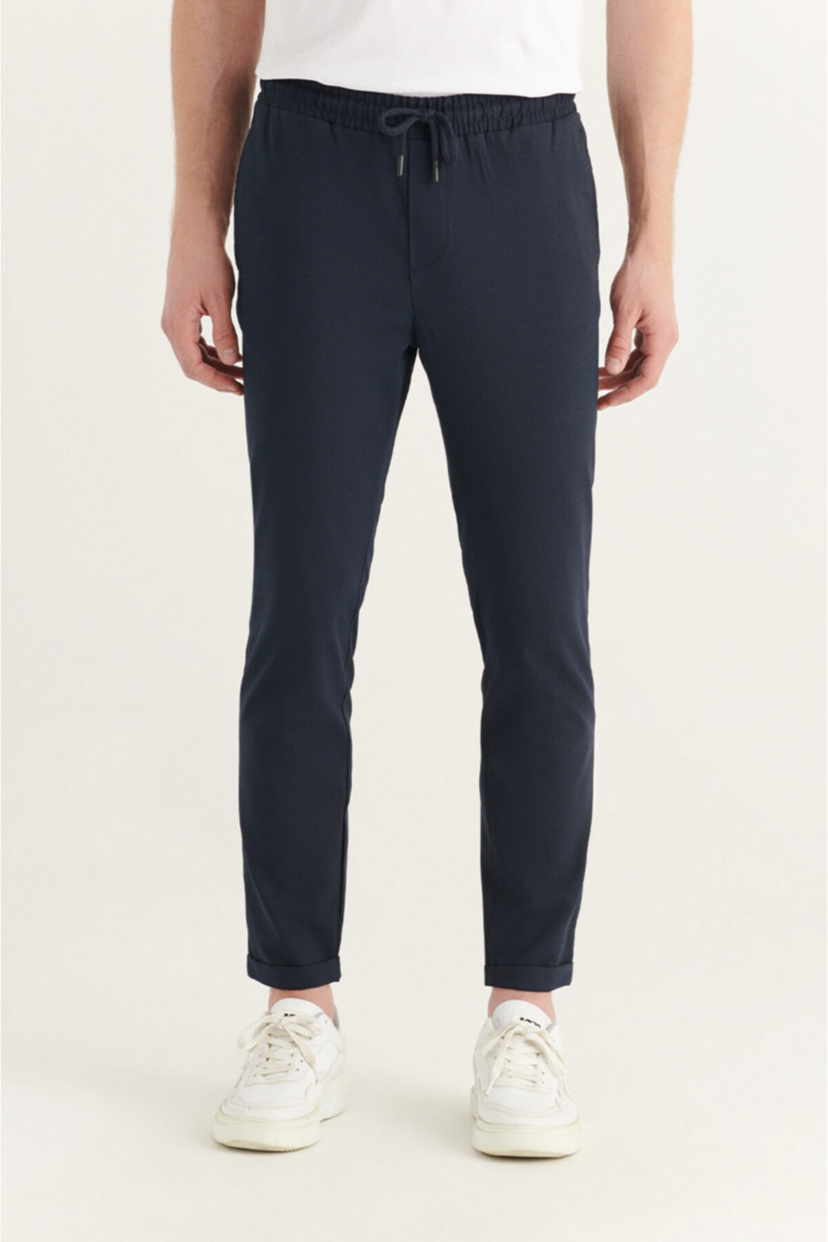 Erkek Lacivert Yandan Cepli Beli Lastikli Kordonlu Düz Relaxed Fit Pantolon E003000