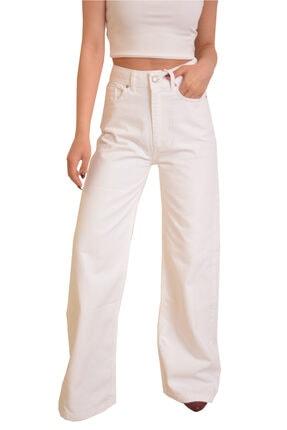 Kadın Beyaz Bol Paça Pantolon 16061