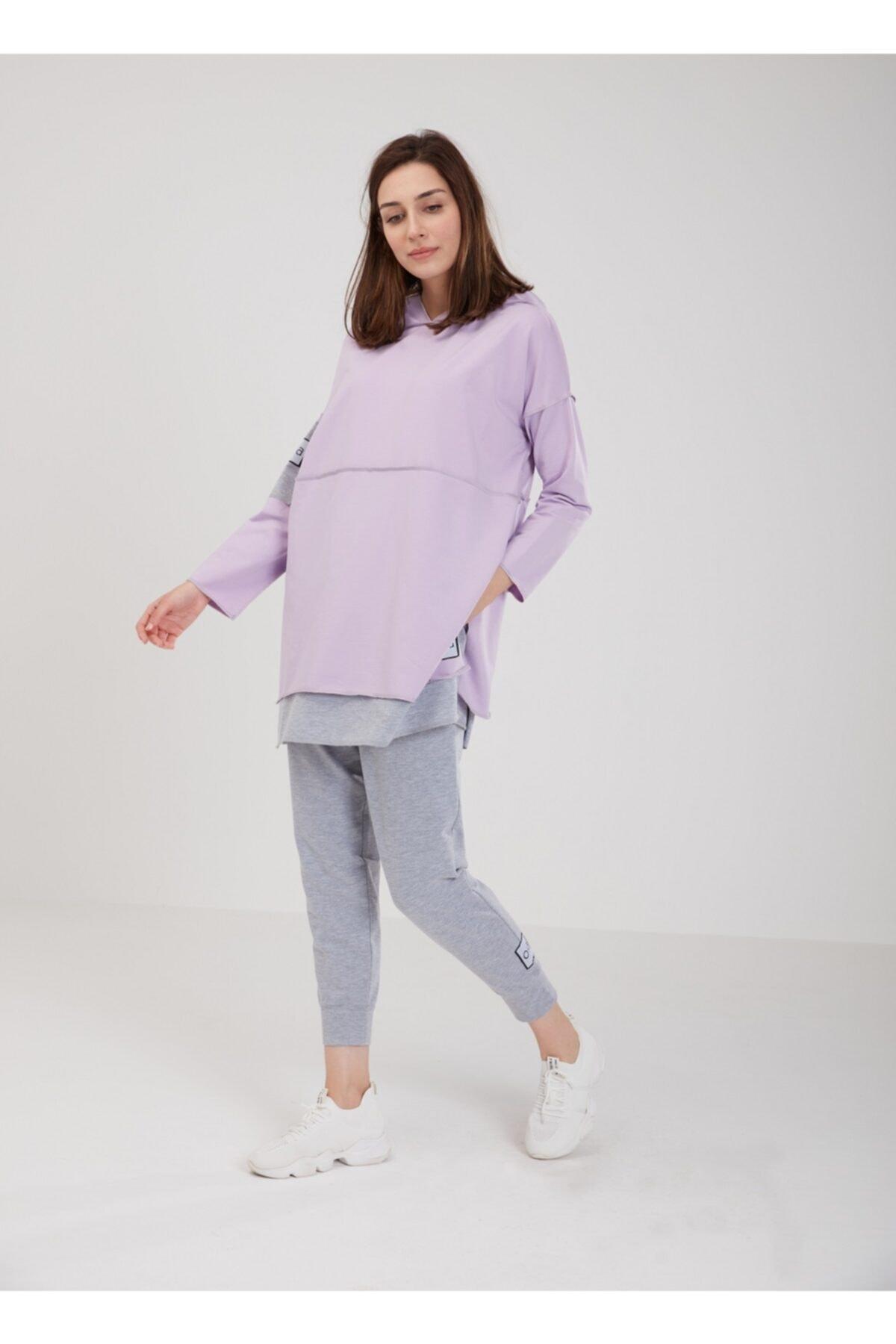 Lila Renk Pamuklu Kapüşonlu  Sweatshirt  W-0901
