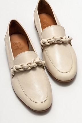 Elle Kadın Bej Deri Loafer Ayakkabı 2