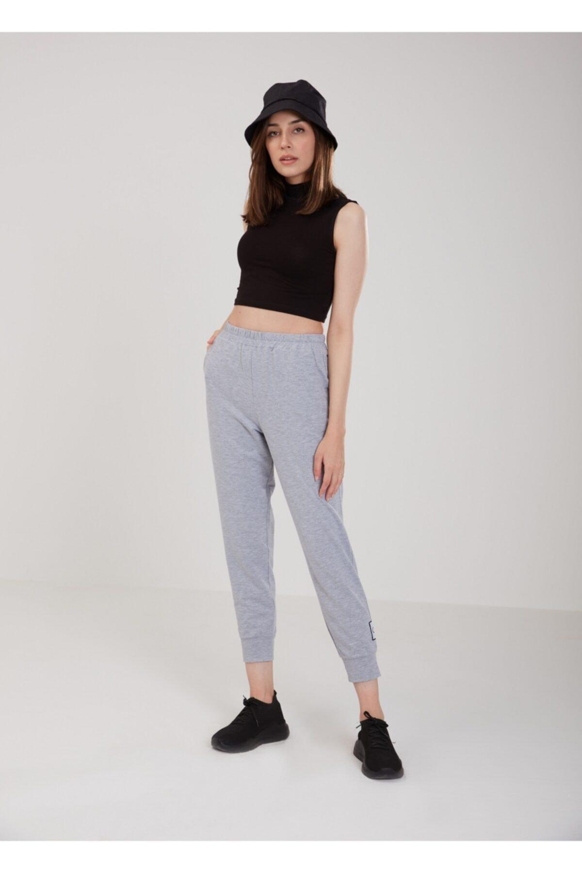 Kadın Gri Pamuklu Eşofman Altı Pantolon