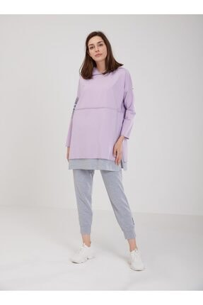 oia Kadın Lila Pamuklu Tunik Pantolon Takım W-0900 1
