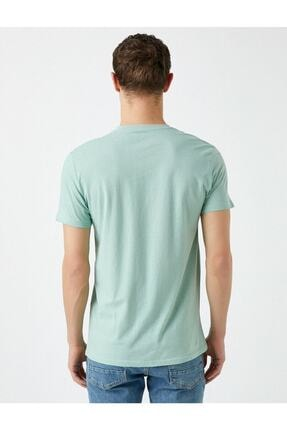 Koton Erkek Yeşil Yazı Baskılı Kısa Kollu Pamuklu T-Shirt 3