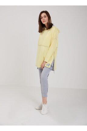 oia W-0900 Sarı Renk Pamuklu Tunik Pantolon Takım Eşofman Takım 2