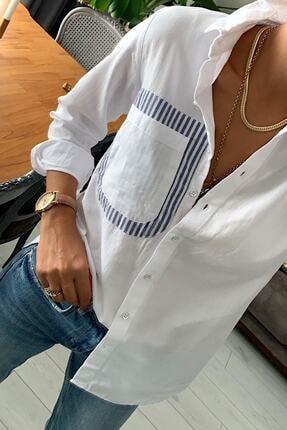 mor butik Kadın Beyaz Sırtı Pencereli Pamuk Gömlek Mrg010001 0