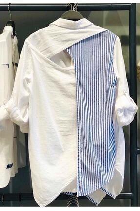mor butik Kadın Beyaz Sırtı Pencereli Pamuk Gömlek Mrg010001 1