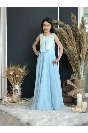 Kız Çocuk Mavi Uzun Abiye PERYBELLA SU YEŞİLİ ABİYE