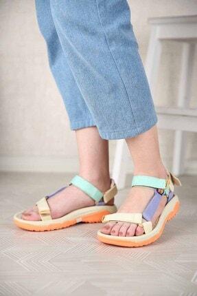 Ccway Kadın Su Yeşili Lila Bej Cırtlı Sandalet 1