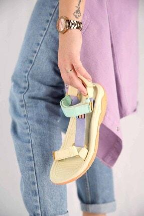 Ccway Kadın Su Yeşili Lila Bej Cırtlı Sandalet 2