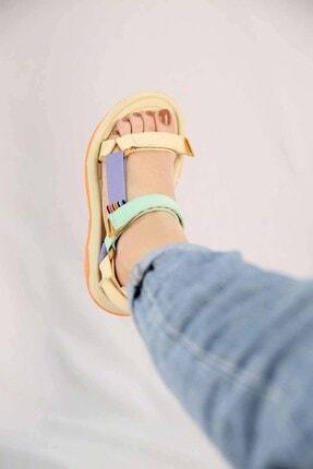 Ccway Kadın Su Yeşili Lila Bej Cırtlı Sandalet 3