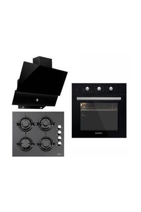 KUMTEL 3lü Ankastre Set Turbo Fanlı Siyah Cam 0