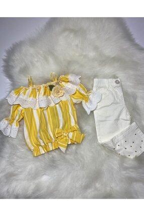 Kız Çocuk Sarı Madonna Yaka Bluz Pantolon Takım Sarı çizgili bluz