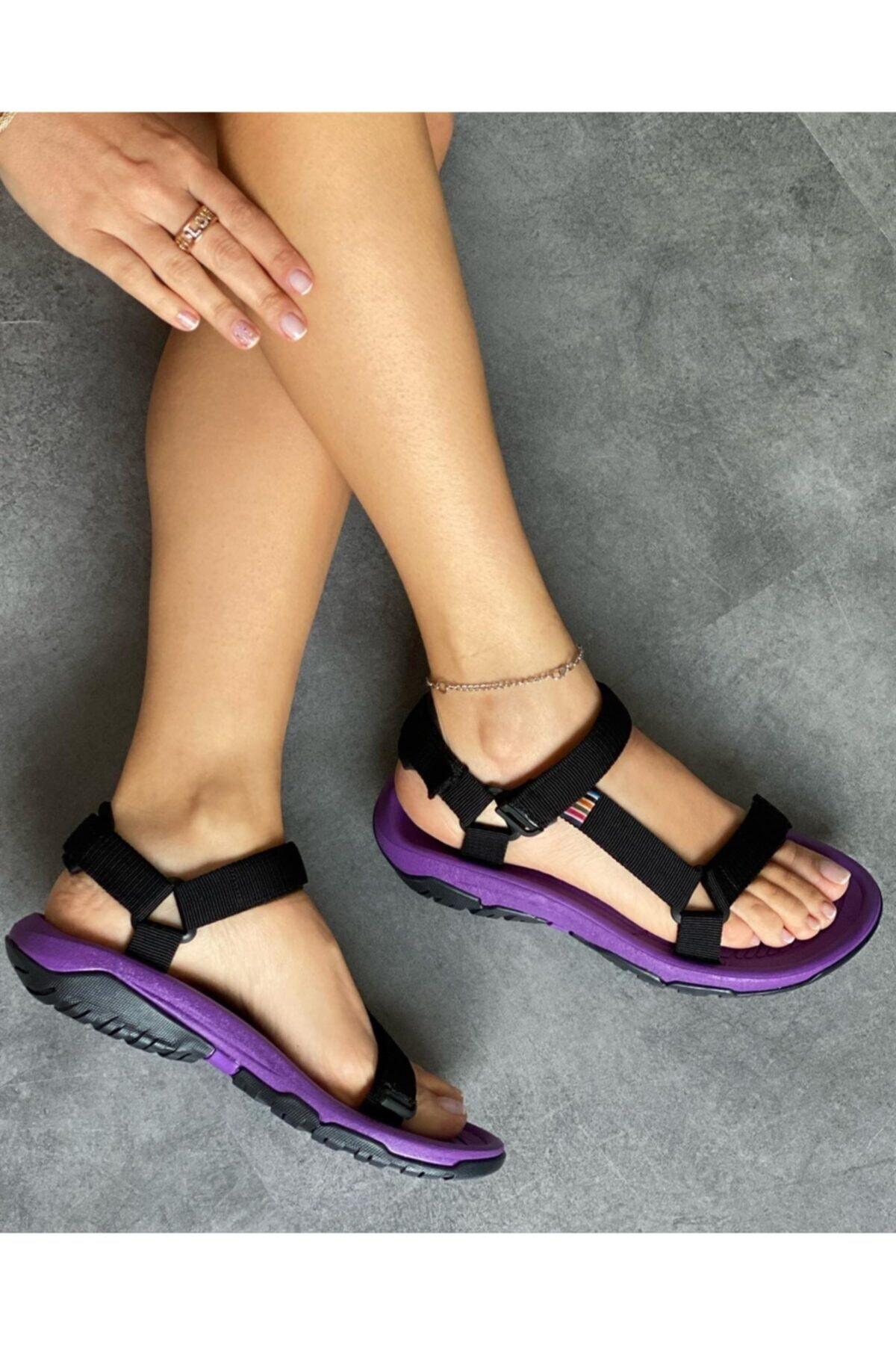 Kadın Siyah Lila Taban Outdoor Sandalet Ws 100