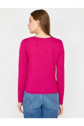 Koton Kadın Pembe Uzun Kollu T-Shirt 8YAK13786EK 4