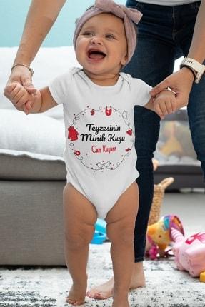 Babydonat Unisex Bebek Beyaz Teyzesinin Minik Kuşu Desenli Kısa Kol Body 2