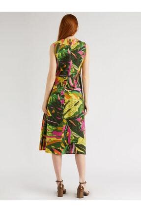 Vekem Kadın Yeşil Fuşya Desenli Sıfır Kol Anvelop Elbise 9109-0040 2
