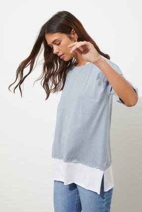 TRENDYOLMİLLA Gri Süprem Parça Detaylı Boyfriend Örme T-Shirt TWOSS20TS0858 2