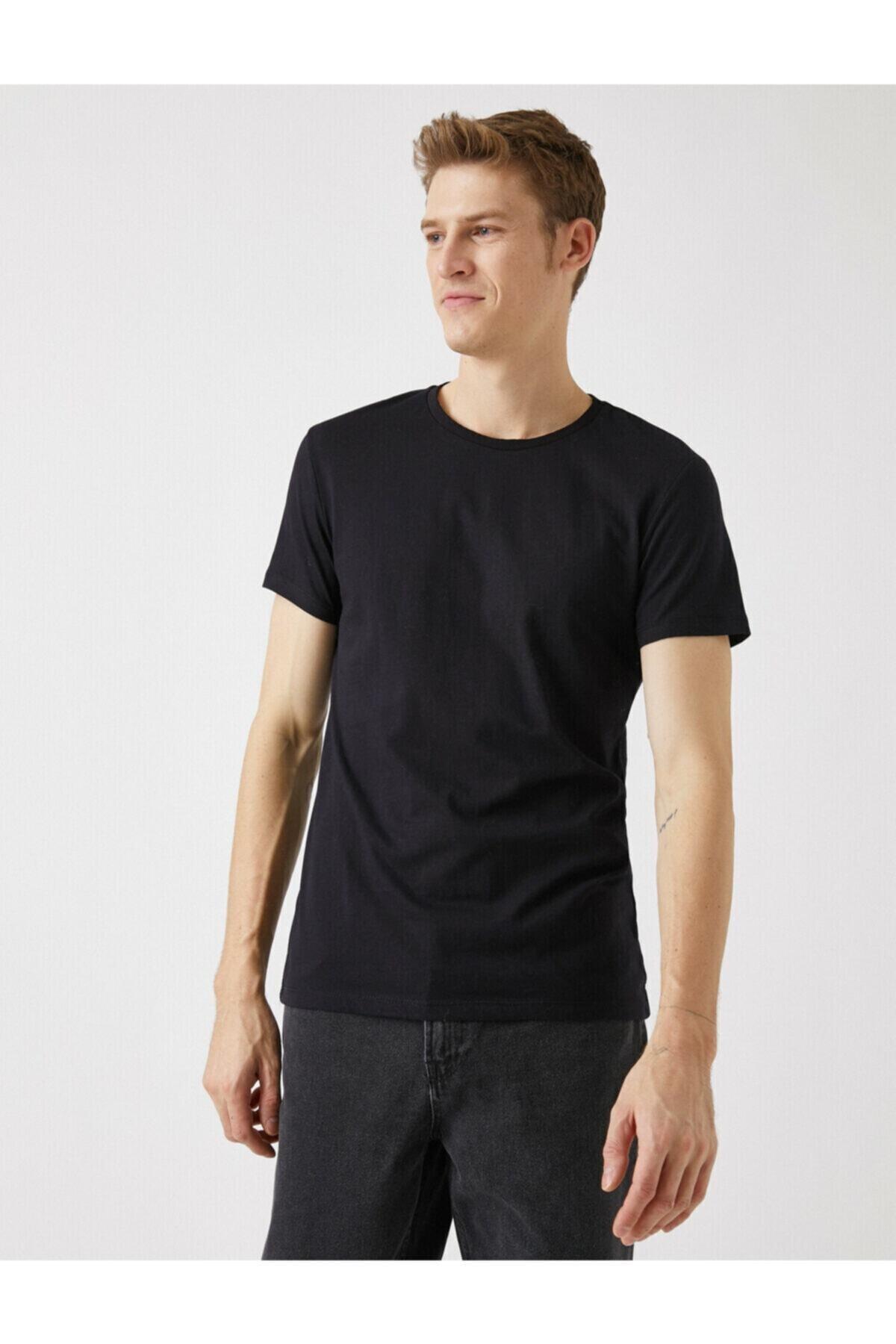 Erkek Siyah Basic Kısa Kollu Bisiklet Yaka T-shirt