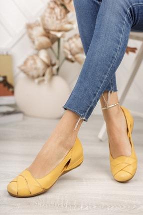 Deripabuc Hakiki Deri Sarı Kadın Deri Babet Trc-4000 3