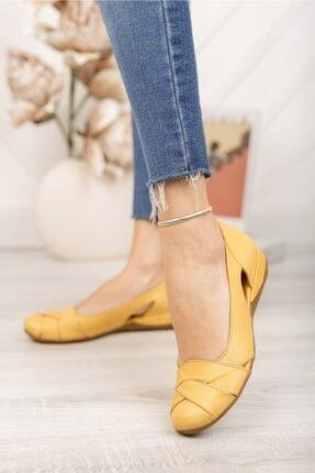 Deripabuc Hakiki Deri Sarı Kadın Deri Babet Trc-4000 4