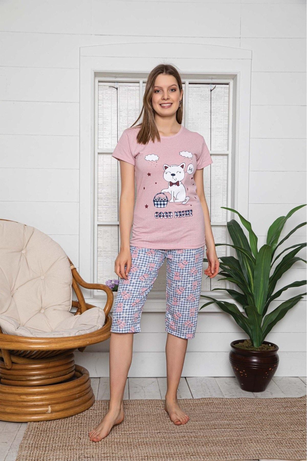 Bellis Kadın Sevimli Kedi Baskılı Kapri Takım