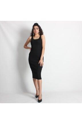 Kadın Siyah Kaşkorse Midi Elbise PEMBECEKETELBSSİYAH01