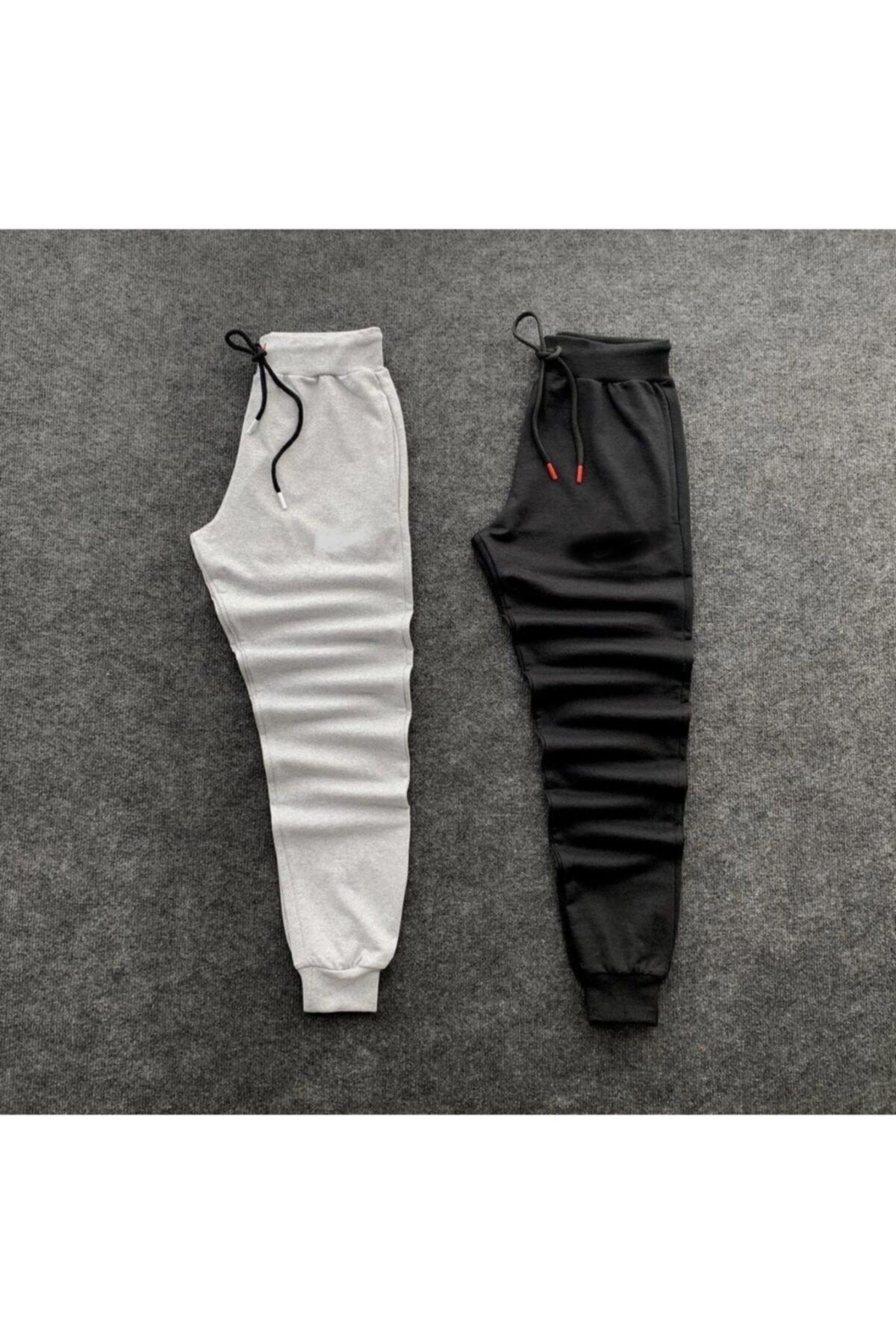 Unisex Gri-siyah Slim Fit Çift Eşofman