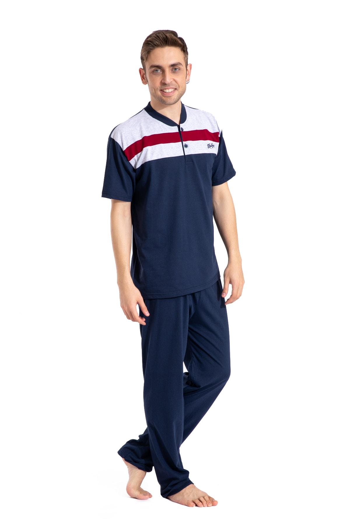 Erkek Kısa Kollu Pijama Takımı Çizgili Takım 2050