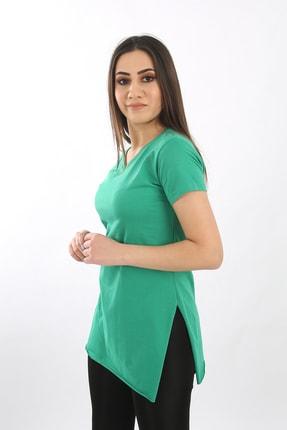 SARAMODEX Kadın Yeşil V Yaka Düz Renk Basic Tişört 2