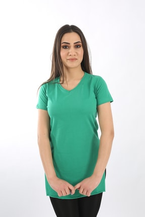 SARAMODEX Kadın Yeşil V Yaka Düz Renk Basic Tişört 3