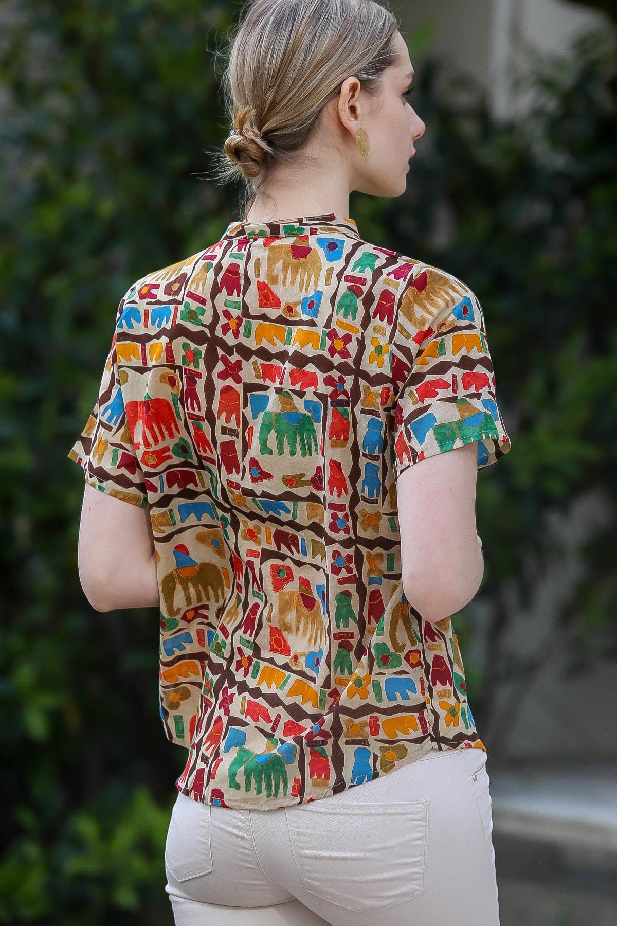 Chiccy Kadın Bej Yakasız Düğme Detaylı Fil Desenli Dokuma Bluz M10010200BL95376 3