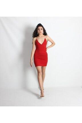 Kadın Kırmızı Ip Askılı Sırt Dekolteli Mini Elbise PEMBECEKETİPELBİSE0001
