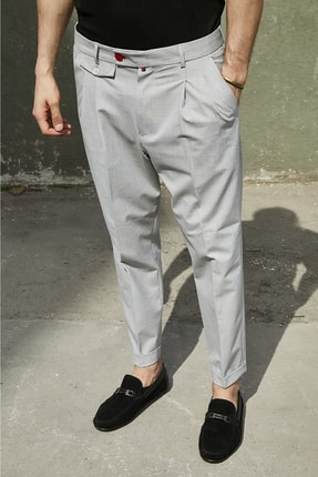 Sateen Men Erkek Gri Duble Paça Pileli Pantolon 2