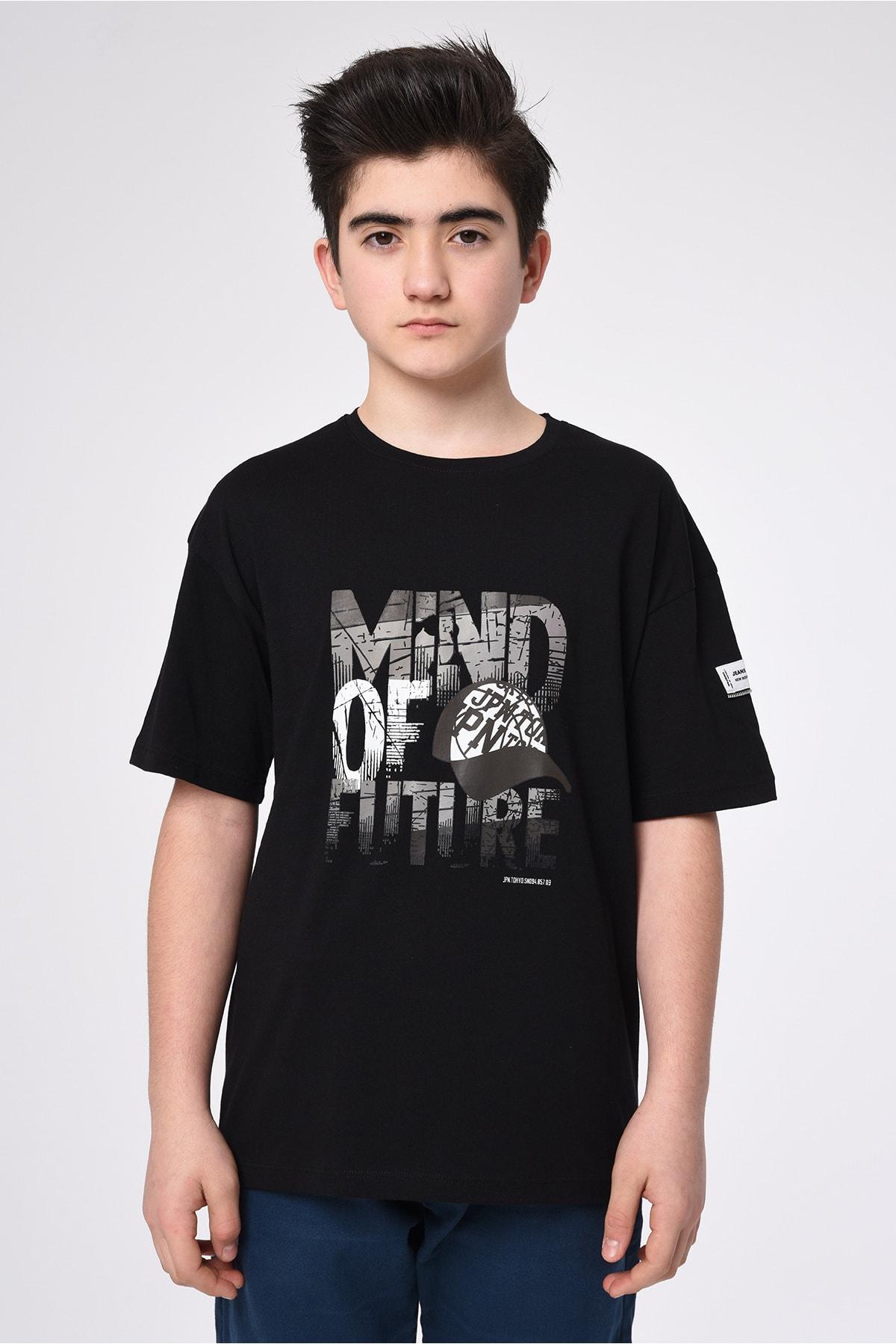 Erkek Çocuk Basic Yaka Baskılı T-shirt