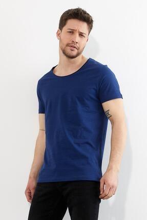 Figo Erkek Lacivert Bisiklet Yaka Basic T-shirt 0