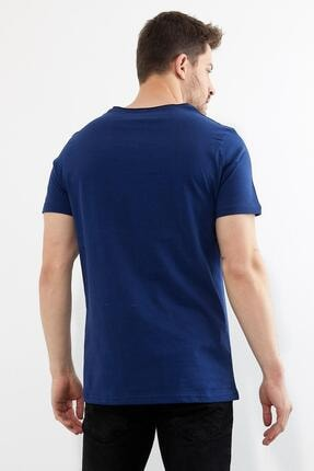 Figo Erkek Lacivert Bisiklet Yaka Basic T-shirt 3