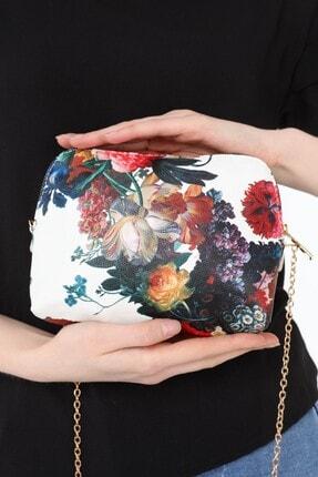 ICONE BAG Icone Beyaz Çiçek Desenli Zincirli Omuz Çantası 0