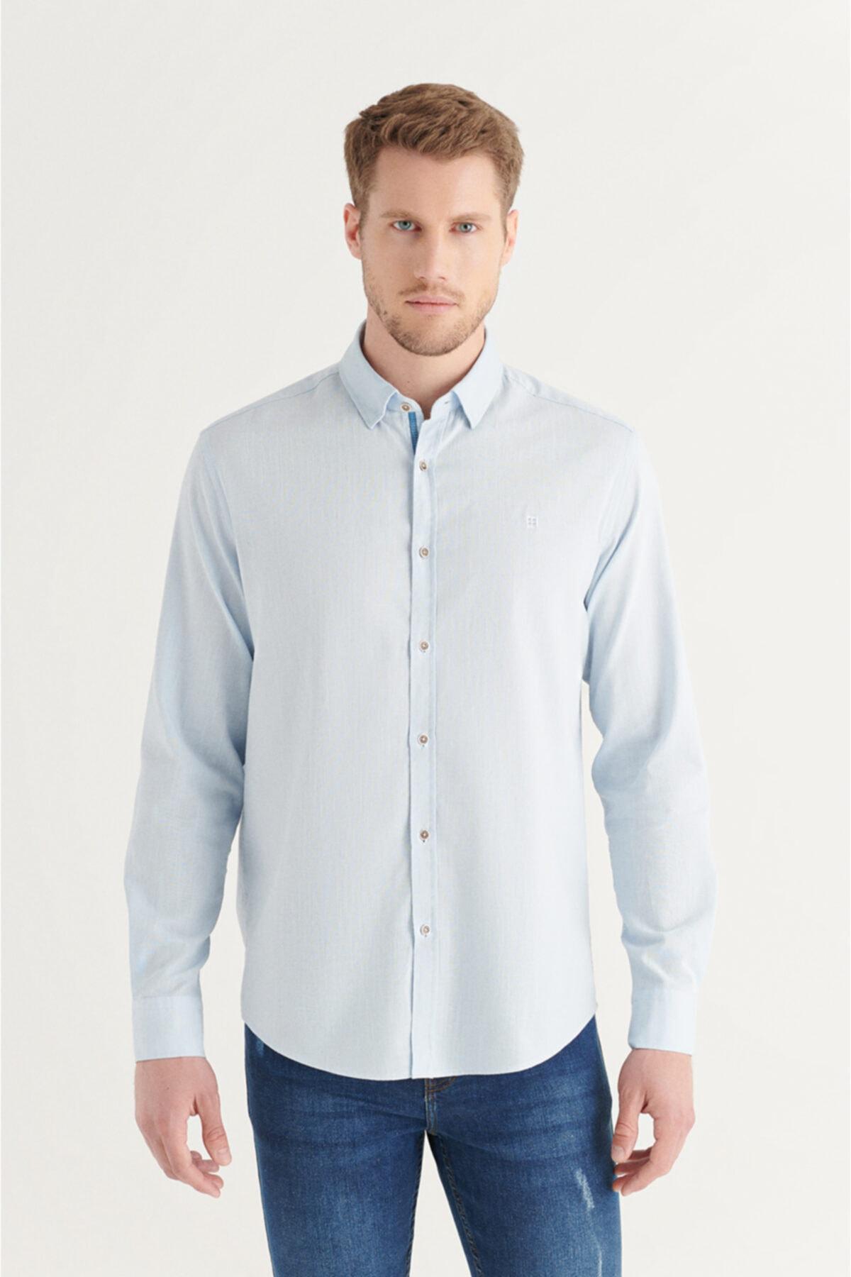 Erkek Açık Mavi Düz Alttan Britli Yaka Regular Fit Gömlek A11y2141